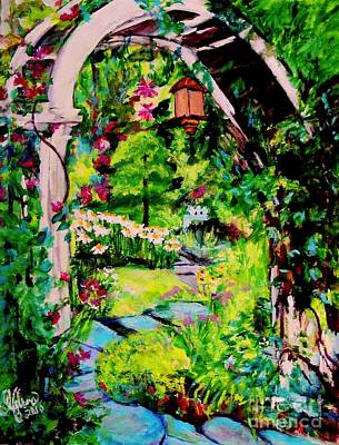 Painting - Camille's Secret Cottage Garden  by Helena Bebirian