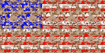 Flag Digital Art - Camo Us Flag by Ron Hedges