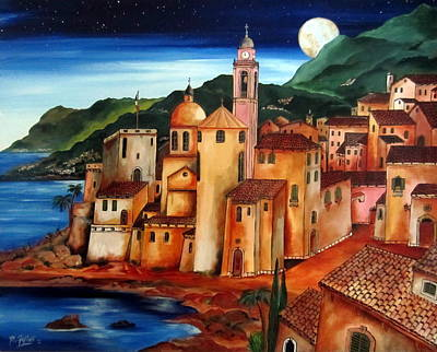 Camogli Under The Moon Art Print