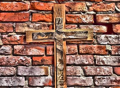 Blend Photograph - Camouflage Cross On Brick by Dan Sproul
