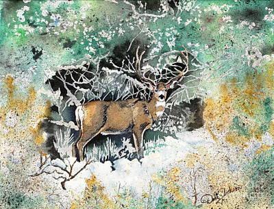 Painting - Camouflaged Mule Deer Buck In Winter by Dale Jackson