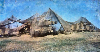 Netting Mixed Media - Camouflaged Tanks by Roy Pedersen