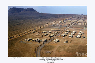 Photograph - Aerial Of Camp Enari 4th Id Base Camp Dragon Mountain  Vietnam 1969 by California Views Archives Mr Pat Hathaway Archives