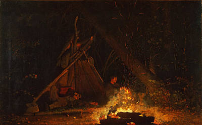 Winslow Homer Painting - Camp Fire by Winslow Homer