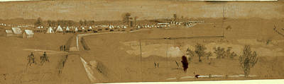 Arty Drawing - Camp Of 1st Mass. Arty, Harrisons Landing by Quint Lox