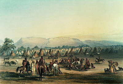 Tipi Photograph - Camp Of Piekann Indians Colour Litho by George Catlin