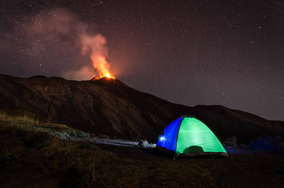 Photograph - Camp on the volcano Etna by Marco Calandra
