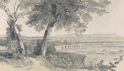 Italian Landscapes Drawing - Campagna Of Rome From Villa Mattei by Edward Lear