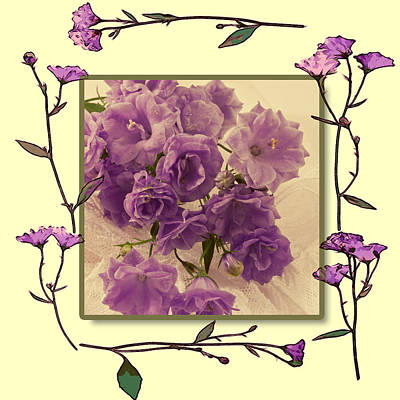 Country Living Magazine Style Photograph - Campanula Framed With Pressed Petals by Sandra Foster