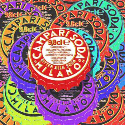 Beer Paintings - Campari Soda Caps by Tony Rubino