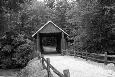 Photograph - Campbell's Cover Bridge In Black And White by Sandra Clark