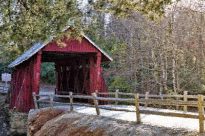 Campbell's Covered Bridge - Van Gogh Style Art Print by Jennifer Stockman