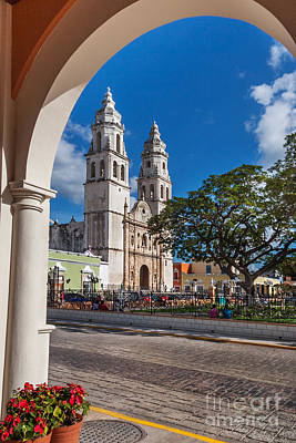 Photograph - Campeche Cathedral Independence Plaza by Jo Ann Snover
