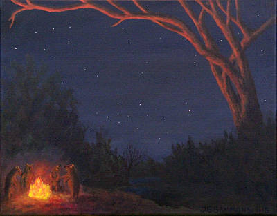 Painting - Campfire Bears by Janet Greer Sammons