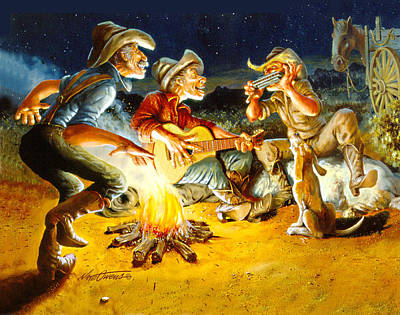 Wagon Mixed Media - Campfire Concert by Nate Owens
