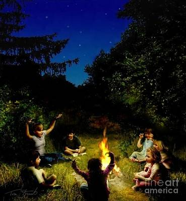 Scary Digital Art - Campfire Story by Tom Straub