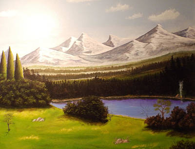 Camping By The Mountains. Art Print