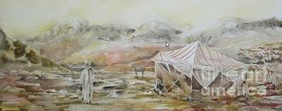 Painting - Camping In The Desert by Donna Acheson-Juillet