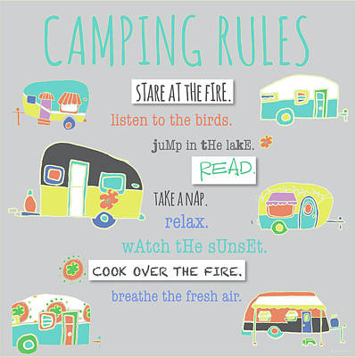 Camping Painting - Camping Rules by Pamela J. Wingard