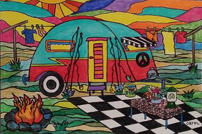 Hip Drawing - Camping..the Life by Carol Hamby