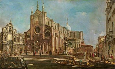 Campo Dei Santi Giovanni E Paolo And The Scuola Grande Di San Marco, Venice Oil On Canvas Art Print by Francesco Guardi