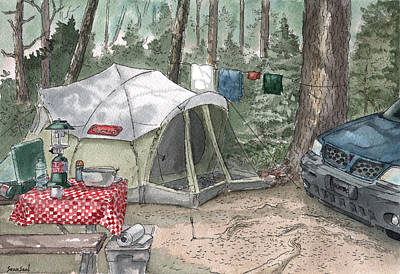 Campsite Art Print by Sean Seal