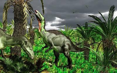 Camptosaurus Dinosaurs Art Print by Walter Myers
