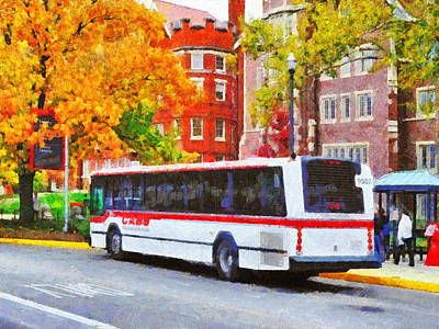 Digital Art - Campus Bus On Neil Avenue by Digital Photographic Arts