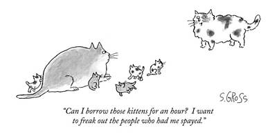 Sam Gross Drawing - Can I Borrow Those Kittens For An Hour?  I Want by Sam Gross