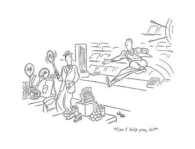 Tennis Drawing - Can I Help by Ned Hilton