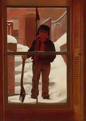 Entrance Door Painting - Can I Shovel Off The Snow by Mountain Dreams