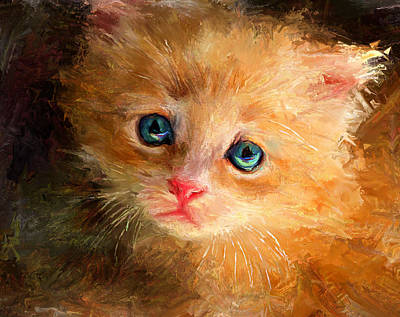 Kitten Digital Art - can I trust you by Yury Malkov