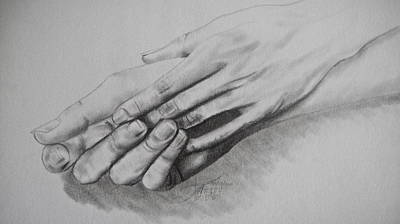 Caring Friend Drawing - Can We Hold Hands by Ann Supan