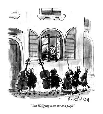 Women In Music Drawing - Can Wolfgang Come Out And Play? by Mort Gerberg