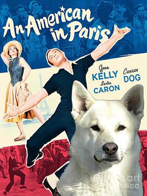 Painting - Canaan Dog Art Canvas Print - An American In Paris Movie Poster by Sandra Sij