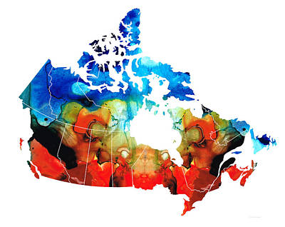 Canadian Mixed Media - Canada - Canadian Map By Sharon Cummings by Sharon Cummings
