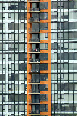 Photograph - Canada Chairs. Patterned Windows And Balconies On A Condominium  by Rob Huntley