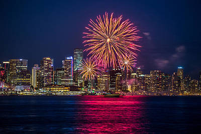 Photograph - Canada Day Fireworks Vancouver  by Pierre Leclerc Photography