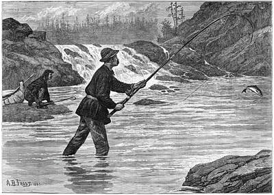 Pole Drawing - Canada Fishing, 1883 by Granger