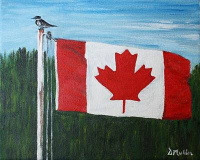 Bayside Painting - Canada Flag by Donna Muller