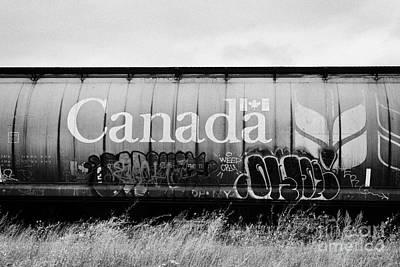 Vandalize Photograph - Canada Freight Grain Trucks With Tag Graffiti On Canadian Pacific Railway Saskatchewan Canada by Joe Fox