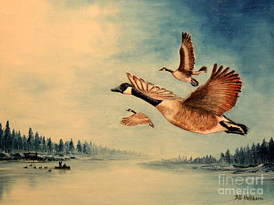 Waterscape Painting - Canada Geese by Bill Holkham