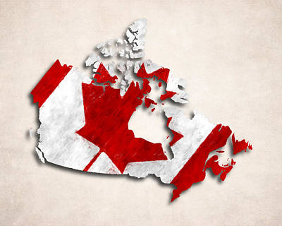 Canada Map Digital Art - Canada Map Art With Flag Design by World Art Prints And Designs