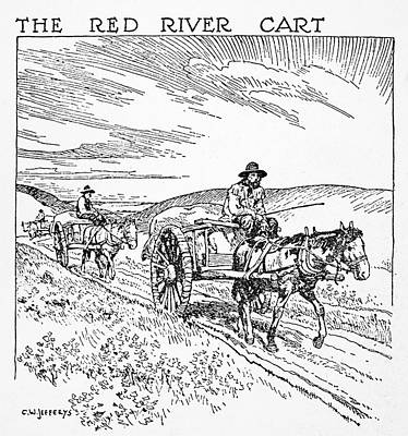 Charles River Drawing - Canada Red River Cart by Granger