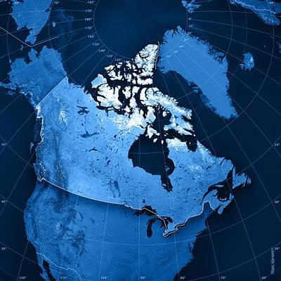 Canada Topographic Map Art Print by Frank Ramspott