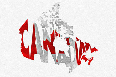 Canada Typographic Map Flag Print by Ayse Deniz