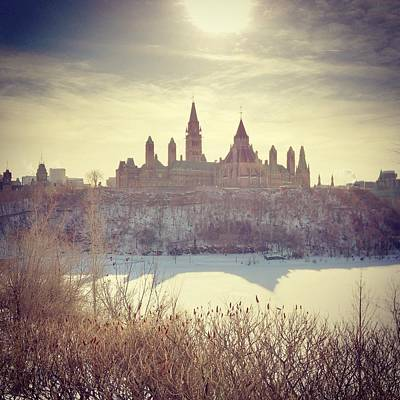 Canadas Parliament Buildings In Winter Art Print