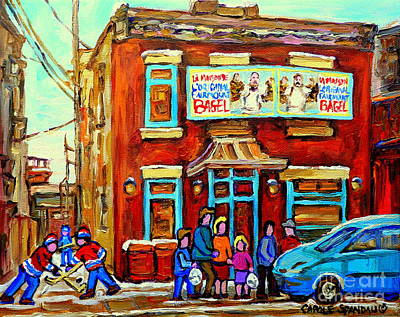 Painting - Canadian Art Fairmount Bagel With Hockey Montreal Winter Scene Montreal Paintings Carole Spandau by Carole Spandau