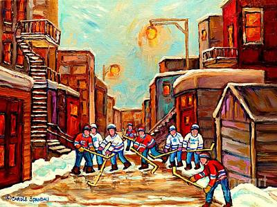 Hockey Painting - Canadian Art Hockey Painting Back Lane Hockey Game Montreal Winter Scene Carole Spandau by Carole Spandau
