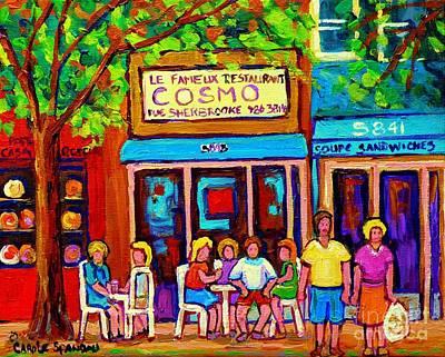 Depanneur Painting - Canadian Artists Montreal Paintings Cosmos Restaurant Sherbrooke Street West Sidewalk Cafe Scene by Carole Spandau